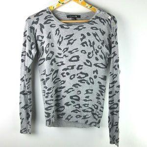 Forever 21 Gray Leopard Shirt sz M